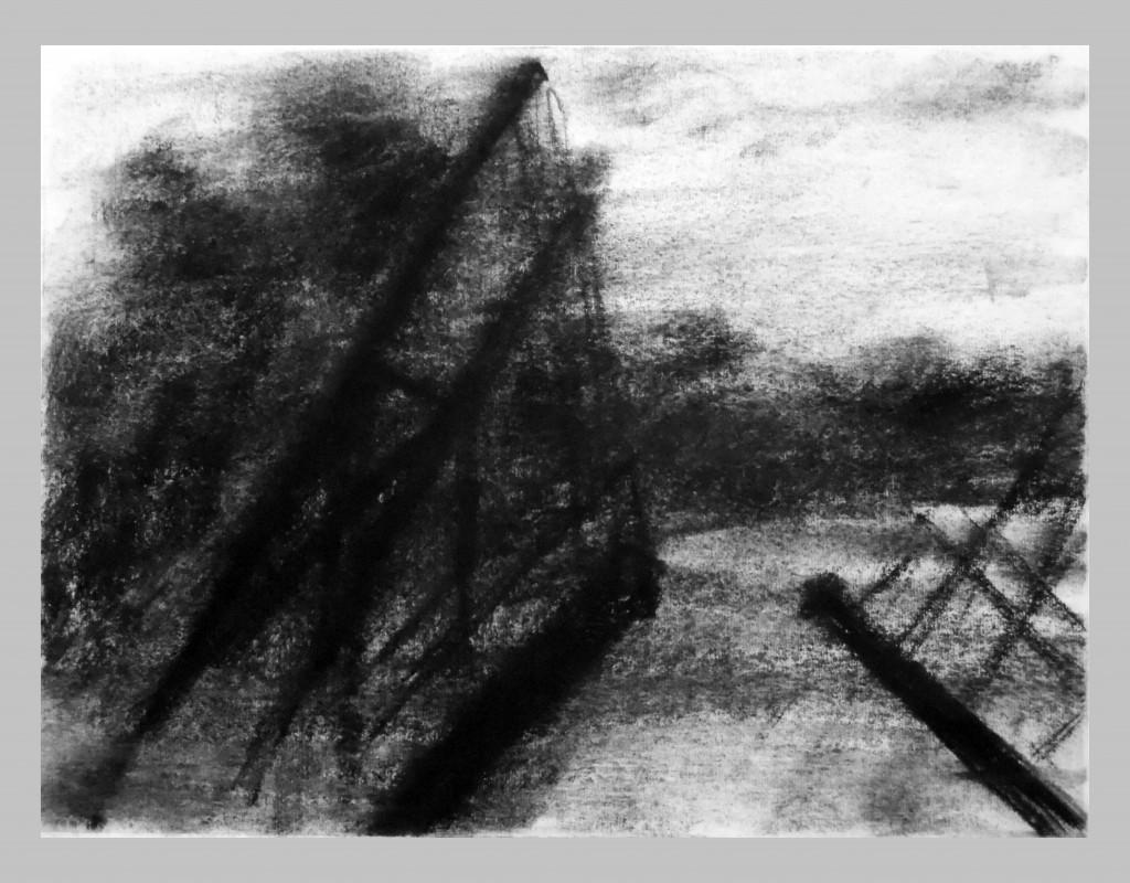 Arles,Pont Van Gogh,szén,papir,27x36 cm. 2014 II