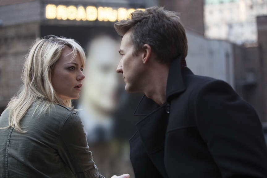 "Emma Stone as ""Sam"" and Edward Norton as ""Mike"" in BIRDMAN. Photo by Alison Rosa. Copyright © 2014 Twentieth Century Fox."
