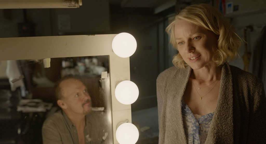"Michael Keaton as ""Riggan"" and Naomi Watts as ""Lesley"" in BIRDMAN. Courtesy Fox Searchlight Pictures. Copyright © 2014 Twentieth Century Fox."