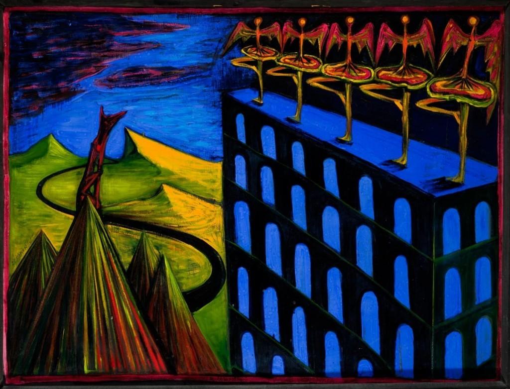 Formailag két részből álló kompozíció. A bal oldal előterében hegyek, a középsőn egy oldalról ábrázolt, négylábú állat ül. A háttérben hegyek. A jobb oldalon többszintes, kék-fekete épület, amelynek tetején balerinaszoknyás, sz