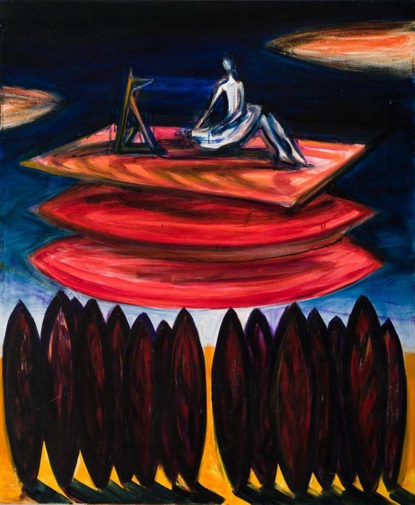 A kép alsó egyharmadában piros fasor, felette két piros felhő egymás felett, illetve felettük egy piros téglalap (szőnyeg), amelynek bal oldalán egy oldalról ábrázolt, négylábú állat (kutya) ül, mellette jobb oldalon egy fehér balerinaszoknyás figura ül. Körülöttük sötétkék ég, a kép két szélén egy-egy piros felhő része.  Őrzési hely: Gerendai Károly gyűjteménye