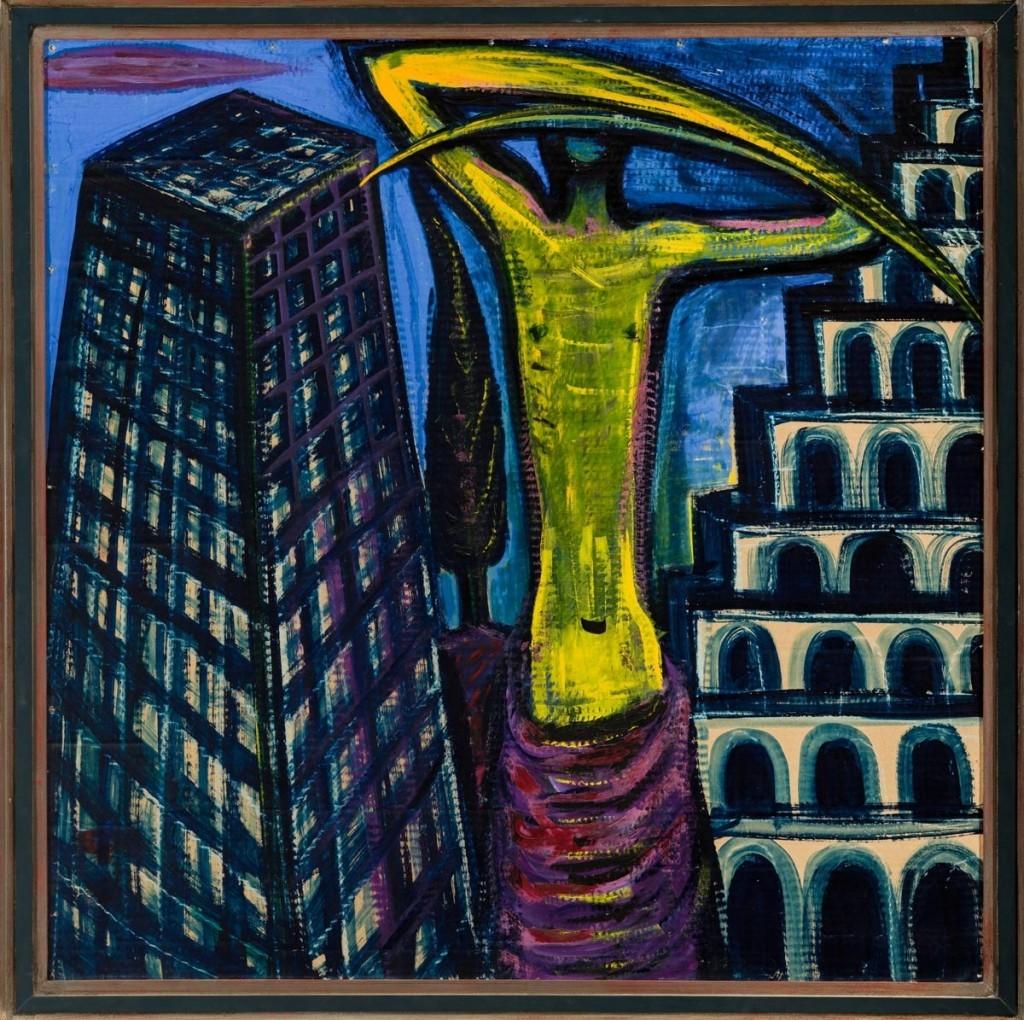Középkék háttér előtt egy négyzetrácsos, csonkagúla alakú épület (bal oldalon), egy zöldessárga, felemelt kaszakarú figura (középen) és egy többszintes, árkádos épület (jobb oldalon).  Őrzési hely: Kozák Gábor és Stomp Sára gyűjteménye
