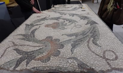 Restaurált római kori mozaikpadló